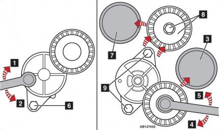 Натяжения ремня навесных агрегатов на BMW X5 E53