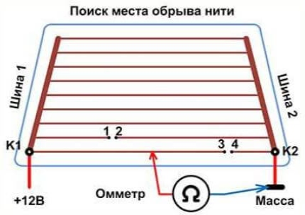 Поиск разрыва омметром
