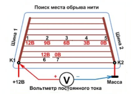 Поиск разрыва вольтметром