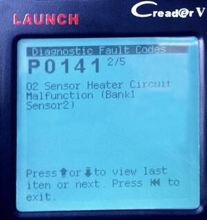 P0141 - код неисправности цепи подогрева кислородного датчика B1S2