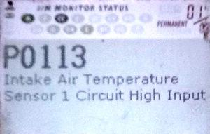 P0113 - высокий уровень сигнала датчика поступающего воздуха