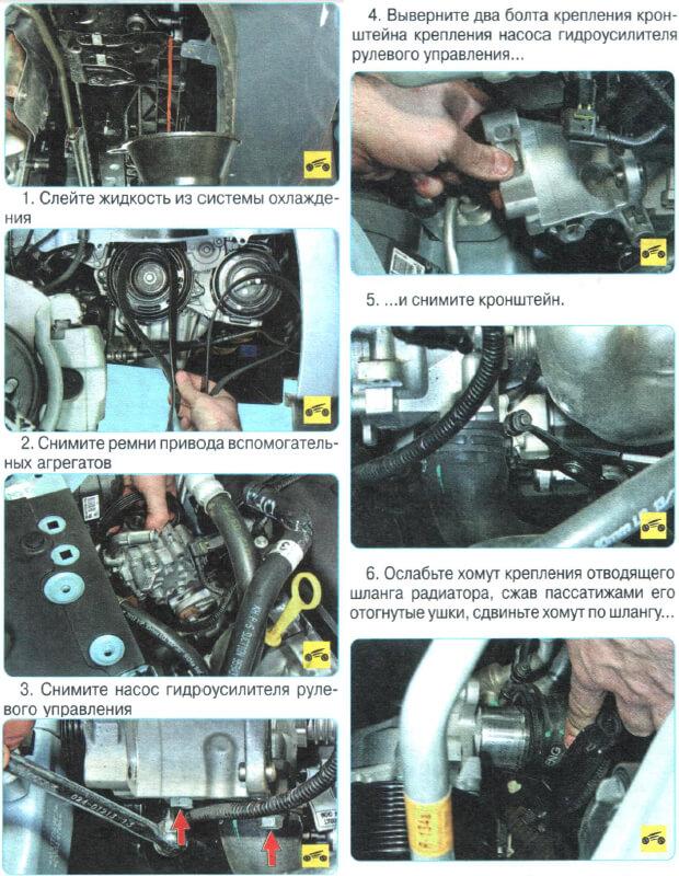 Замена помпы Chevrolet Aveo T300