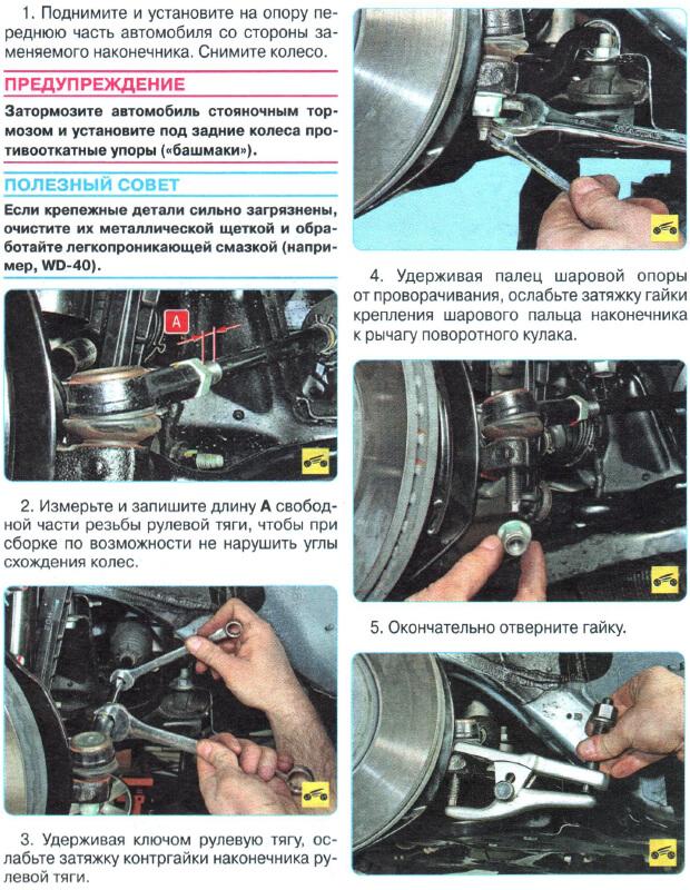 Инструкция по замене рулевых наконечников Авео Т300