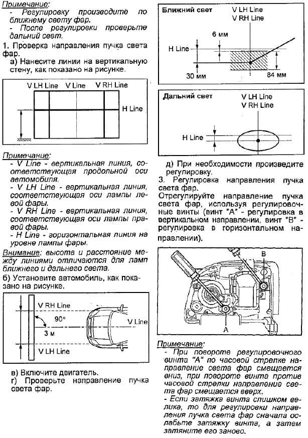 Инструкция регулировки света фар
