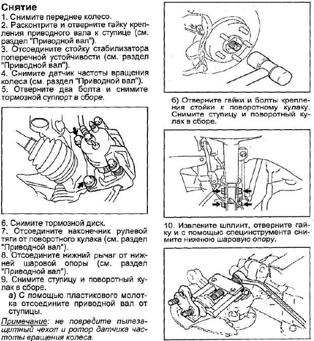 инструкция как заменить подшипник передней ступицы авенсис 2
