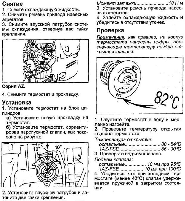 Инструкция по снятию проверке и установке термостата Авенсис Т250