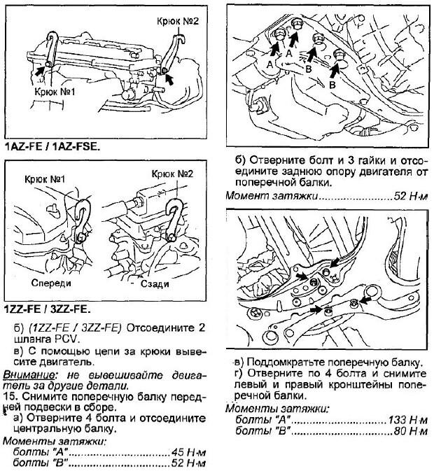 демонтаж рулевой рейки авенсис с разными двигателями