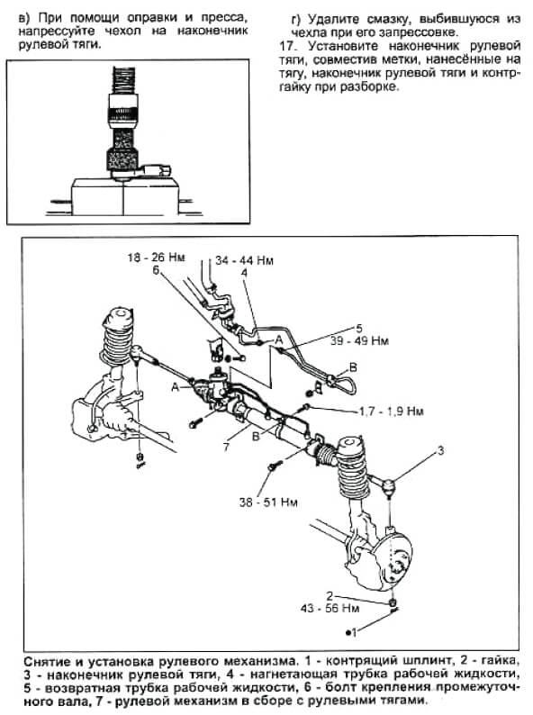 снятие/установка рулевой рейки Mazda Demio