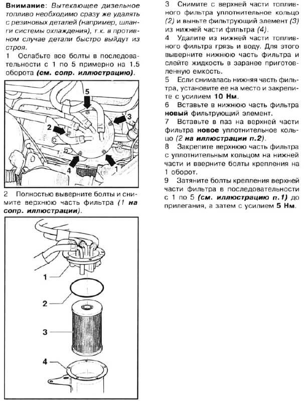 Инструкция по замене топливного фильтра на пассате б6 дизель