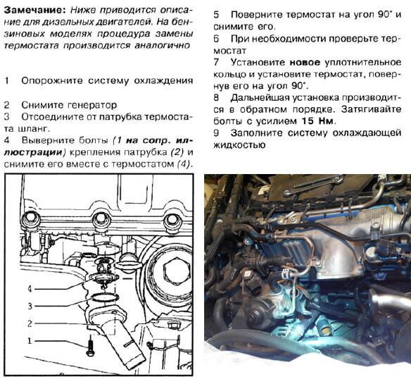 инструкция как заменить термостат пассат б6
