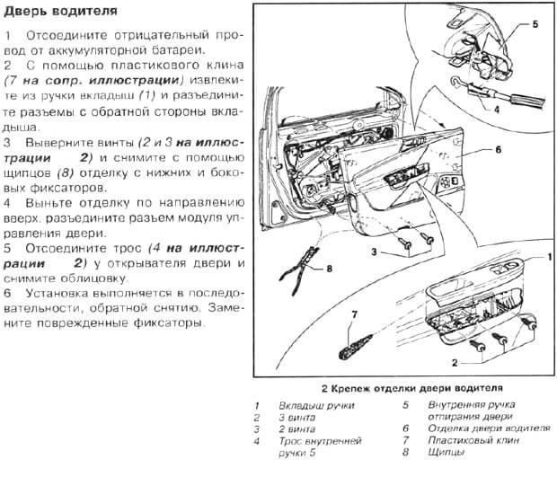 инструкция по снятию обшивки с двери водителя Пассат Б6