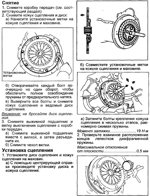Инструкция по снятию и замене диска и корзины сцепления Тойота Корона/Калдина