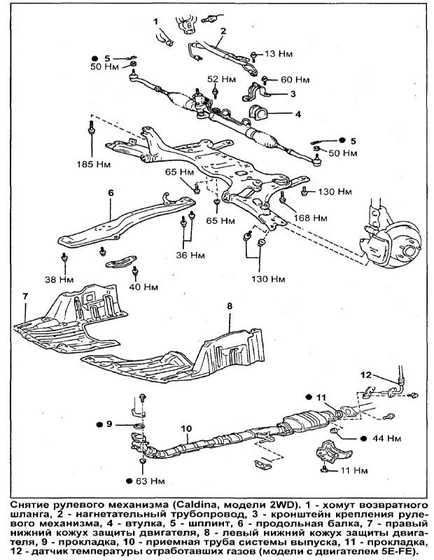 Снятие рулевой рейки Калдина 2 WD
