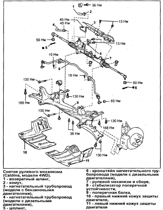 снятие рулевой рейки на Toyota Caldina 4WD