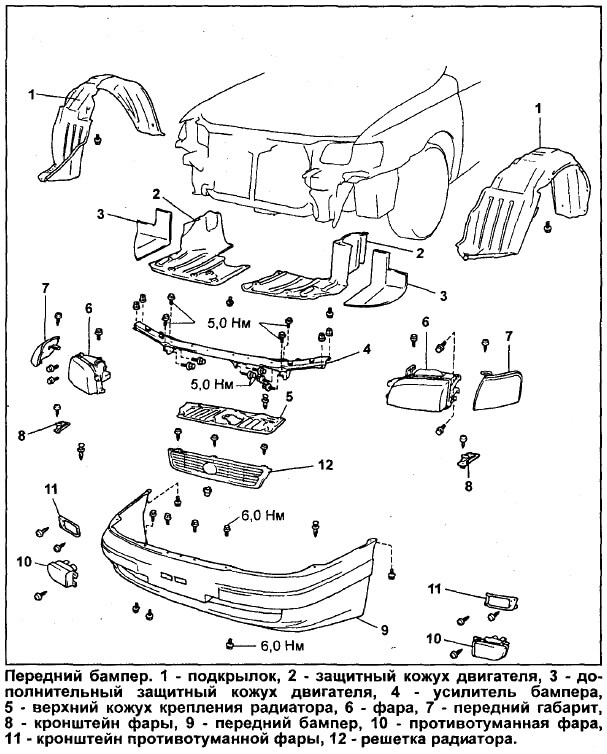 Инструкция по снятию переднего бампера Калдина/Корона