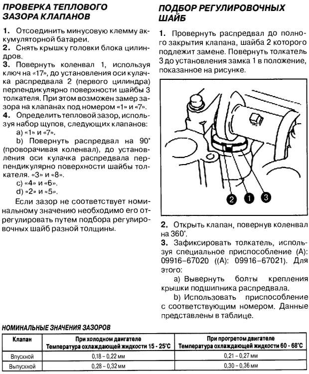 Проверка тепловых зазоров клапанов Гранд Витара