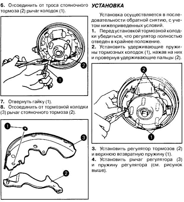 Замена накладок тормозного барабанного механизма Гранд Витара
