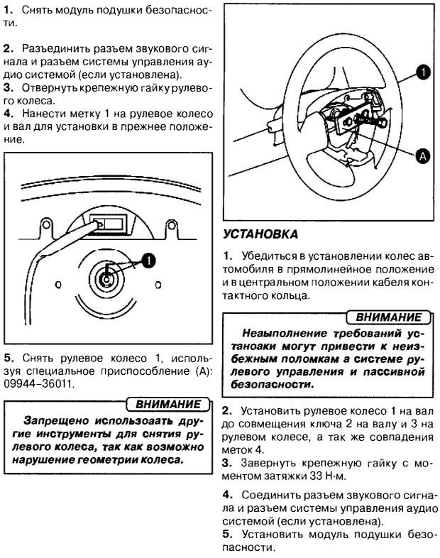 Снятие подушки безопасности и рулевого колеса Гранд Витара
