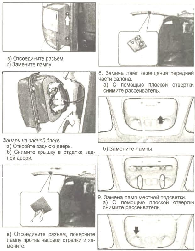 замена лампочек в задней фаре стопа Hyundai H-1 (Starex)