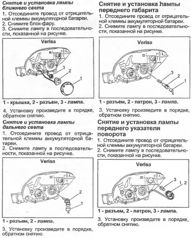 Инструкция по замене лампочки в фаре головного света Мазда Вериса