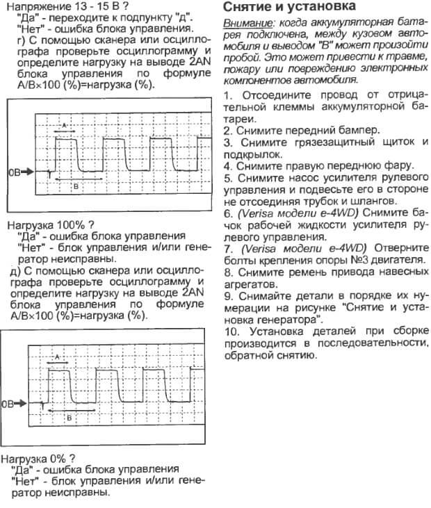 Инструкция по снятию и установке генератора Мазда 2/Вериса