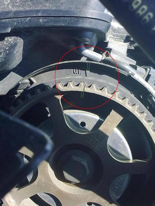 Метки на двигателе VW Golf 4