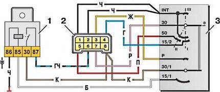 Электрическая схема замка зажигания ВАЗ 2109
