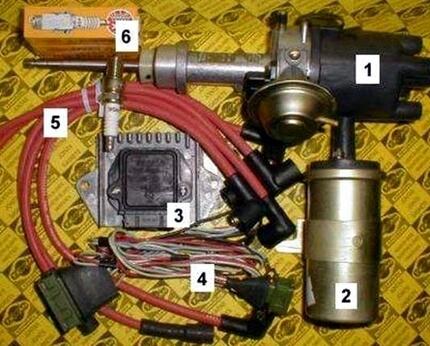 Составляющие системы зажигания ВАЗ 2105