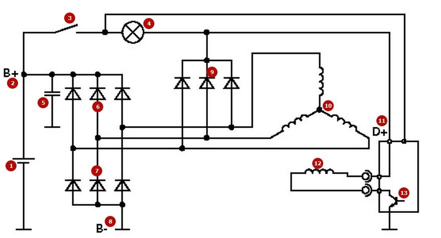 Принципиальная электрическая схема генератора авто