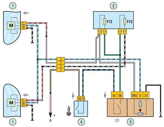 схема подключения электрокорректора фар