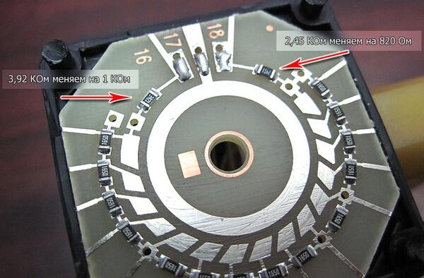 Резисторы блока управления электрокорректора фар