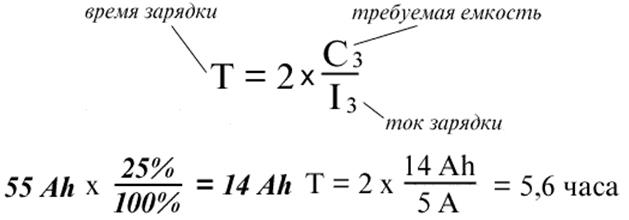 Формула для расчета сколько времени заряжать аккумулятор авто