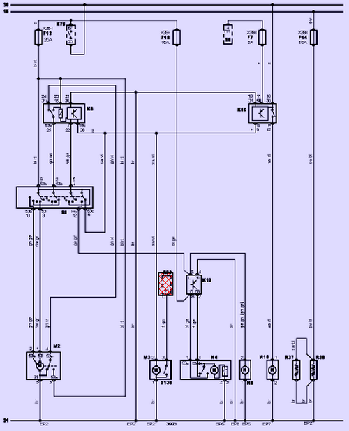 Схема стеклоочистителей (омывателей)
