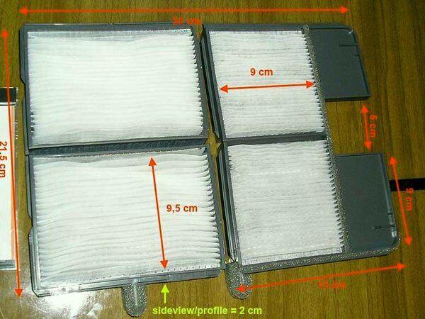 размеры фильтра салона Корона Премио