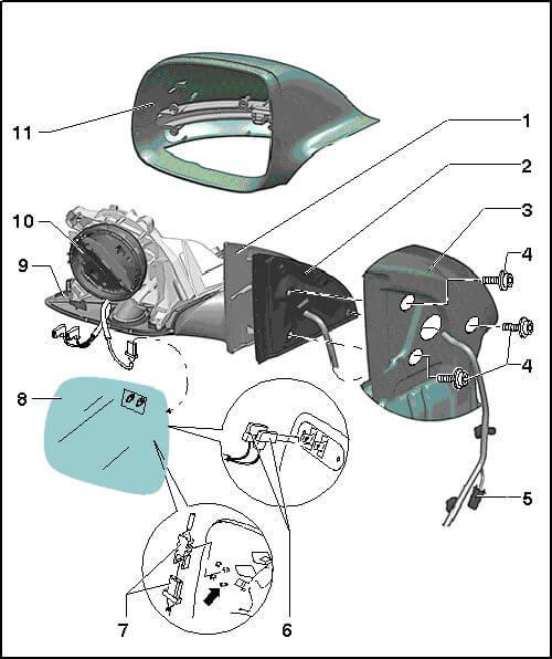 Снятие зеркала Audi Q7