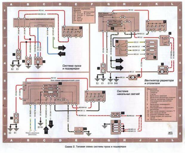 Схема системы пуска и подзарядки