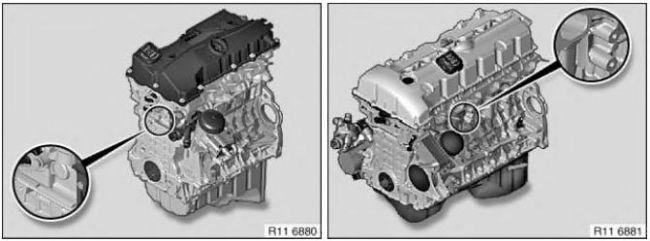Расположение номера двигателя на картере BMW X5