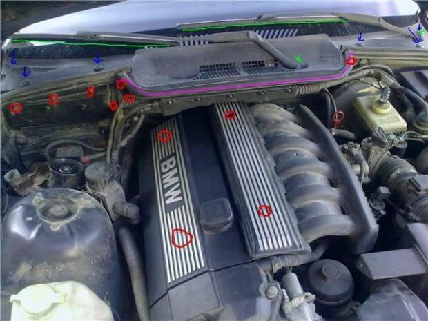 Снятие моторчика печки BMW 3 седан (E36)