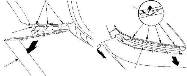 как отцепить бампер с крючков