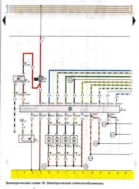 Электрическая схема фольцвагина пассат b4
