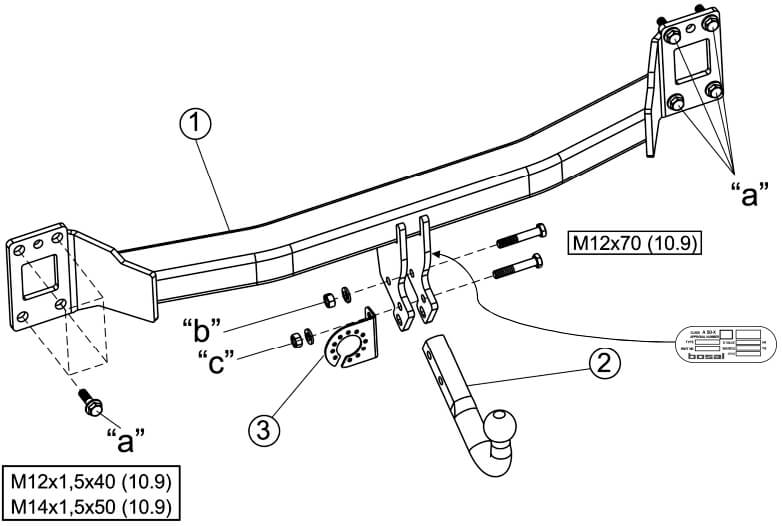 Схема установки ТСУ на Туарег и Audi Q7