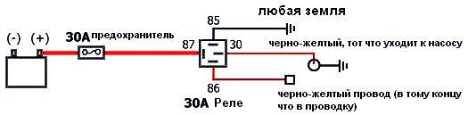 схема подключения бензонасоса на прямую к АКБ
