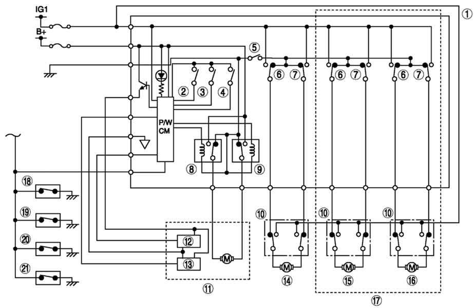 Монтажная схема электростеклоподъемников Мазда 6
