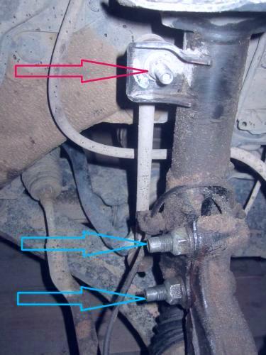 Замена передней стойки амортизатора Nissan Presage U30