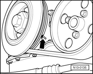 метка ВМТ 1-го цилиндра на двигателе AGZ