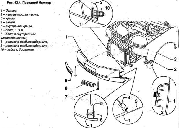 схема снятия/установки переднего бампера Ауди А6