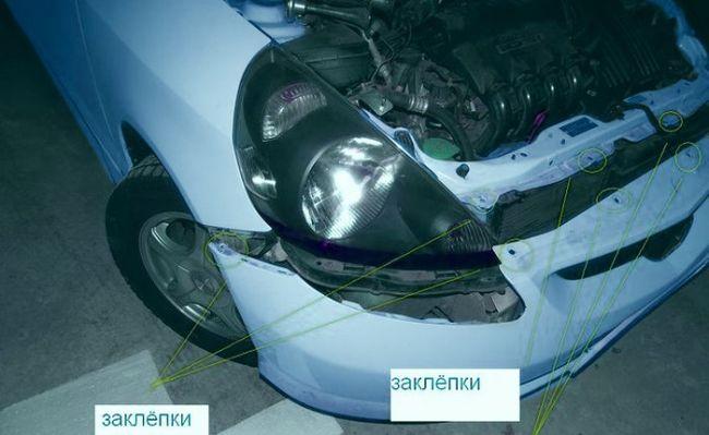 В каких местах крепится бампера Хонда Фит