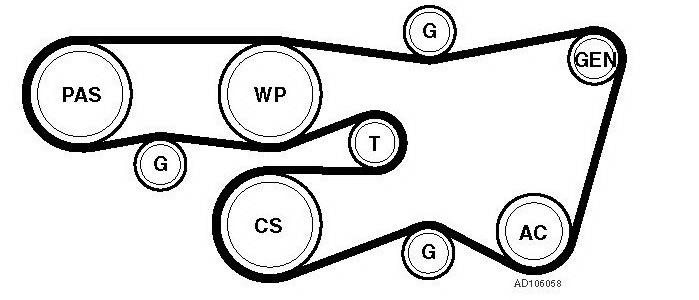 Схема установки приводного ремня Прадо 120 1GR-FE